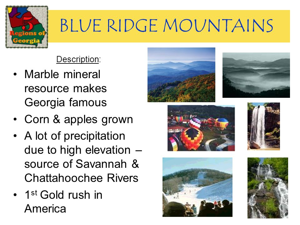 BLUE RIDGE MOUNTAINS Description: Marble mineral resource makes Georgia famous Corn & apples grown A lot of precipitation due to high elevation – sour