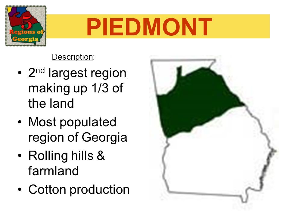 PIEDMONT Description: 2 nd largest region making up 1/3 of the land Most populated region of Georgia Rolling hills & farmland Cotton production