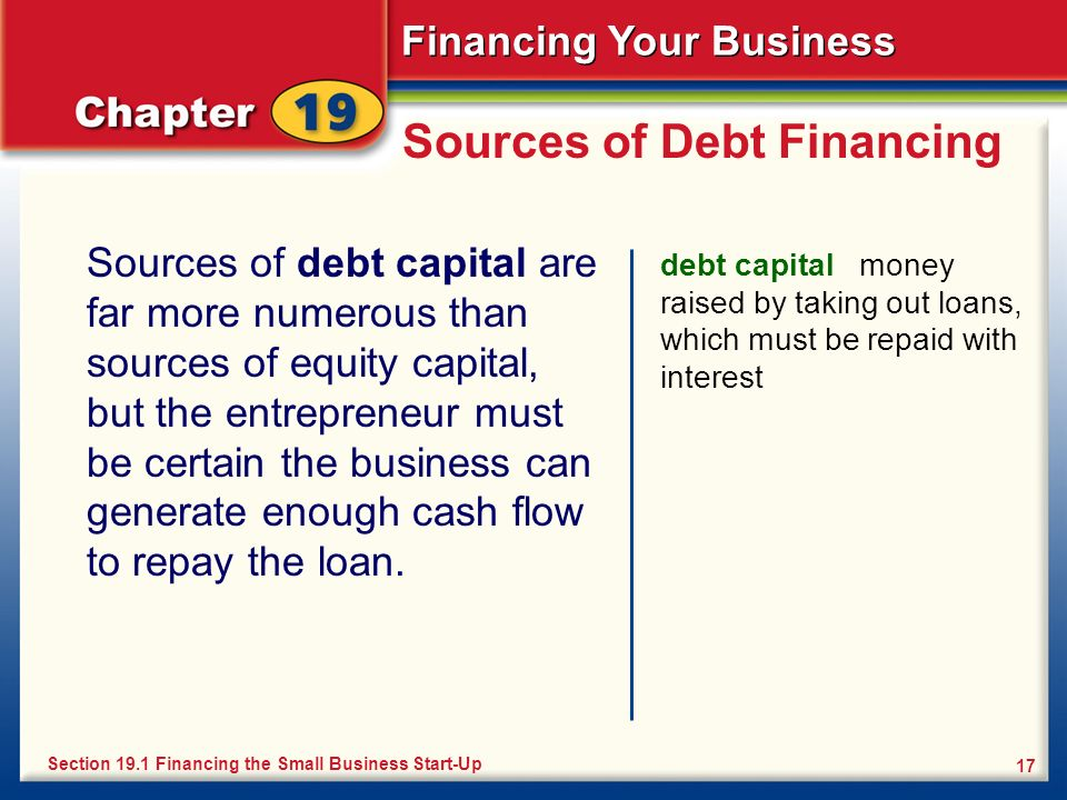 Financing Your Business 17 Sources of Debt Financing Sources of debt capital are far more numerous than sources of equity capital, but the entrepreneu