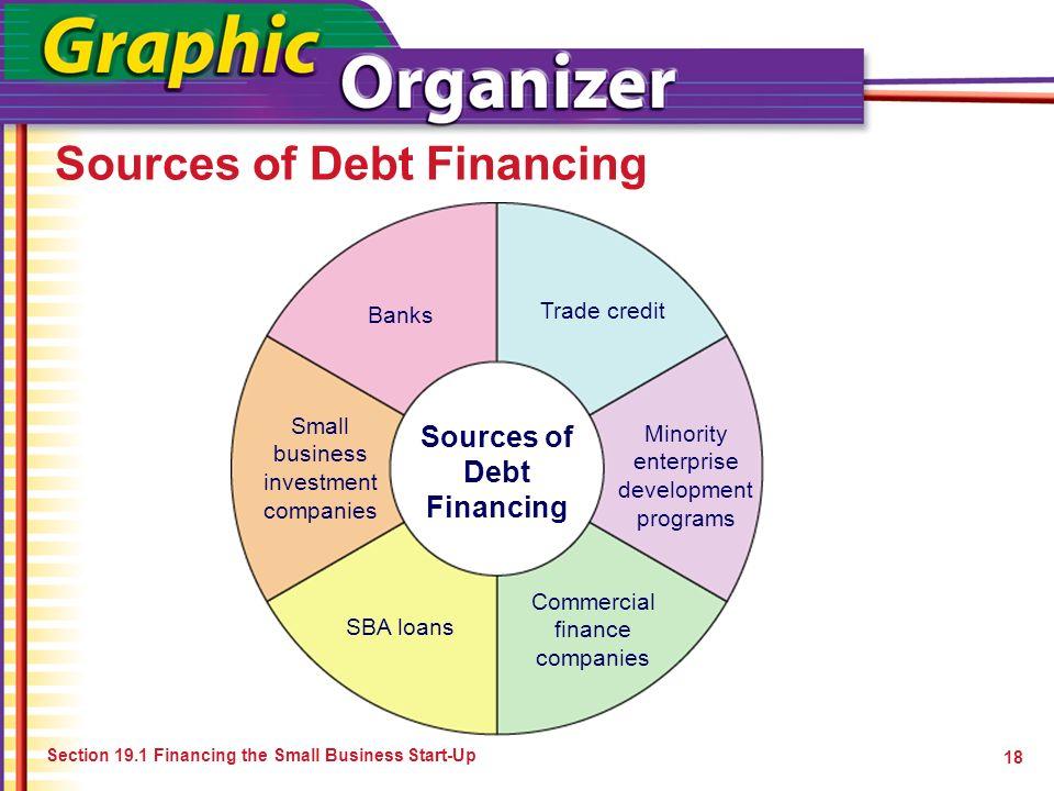 Sources of Debt Financing 18 Sources of Debt Financing Banks Trade credit Minority enterprise development programs Commercial finance companies SBA lo
