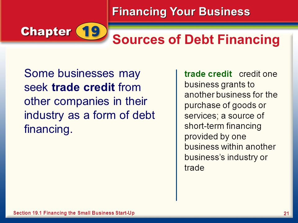 Financing Your Business 21 Sources of Debt Financing Some businesses may seek trade credit from other companies in their industry as a form of debt fi