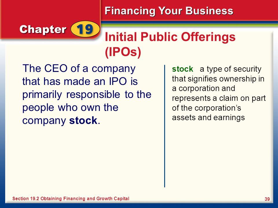 Financing Your Business 39 Initial Public Offerings (IPOs) The CEO of a company that has made an IPO is primarily responsible to the people who own th