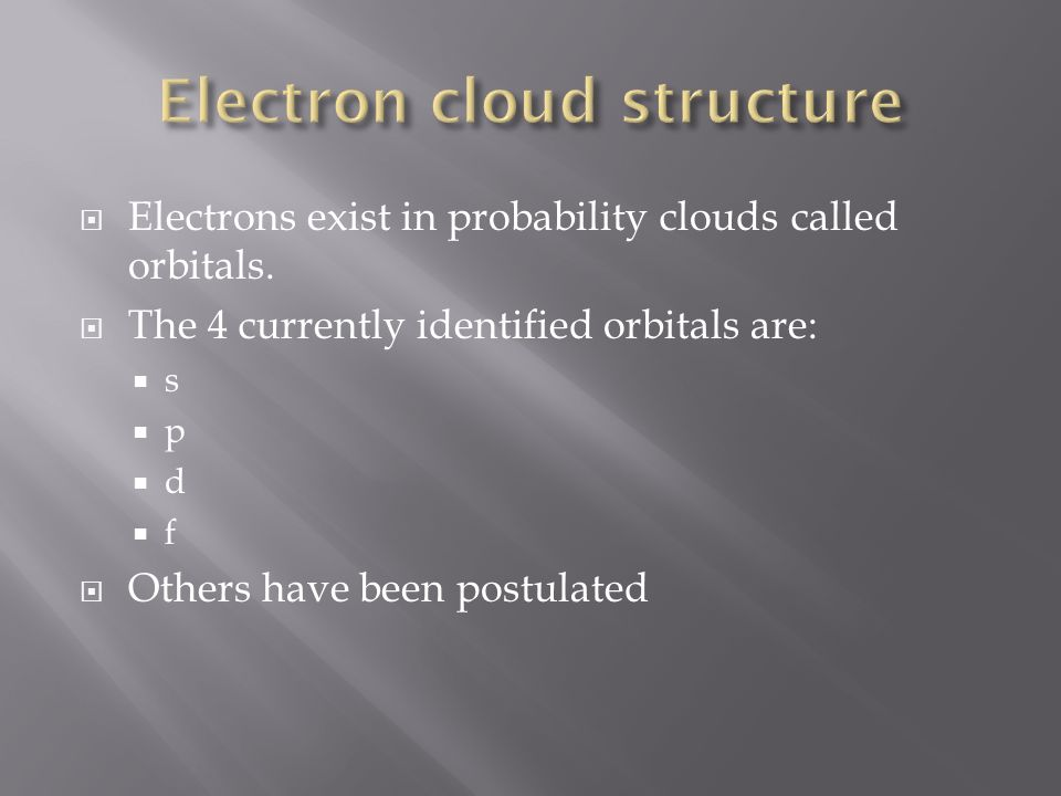 Electrons exist in probability clouds called orbitals.