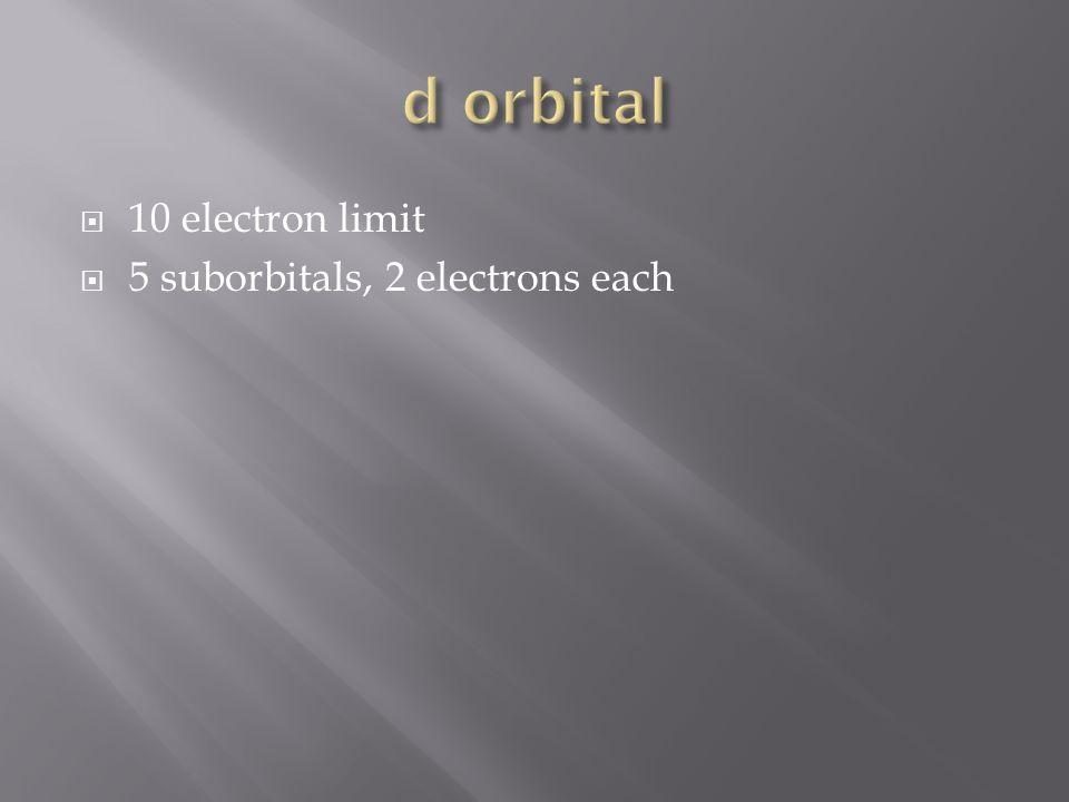 10 electron limit 5 suborbitals, 2 electrons each