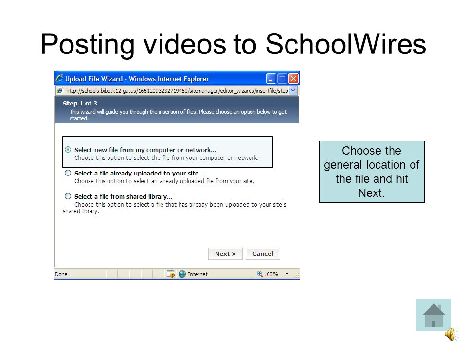 Posting videos to SchoolWires Complete the required fields.