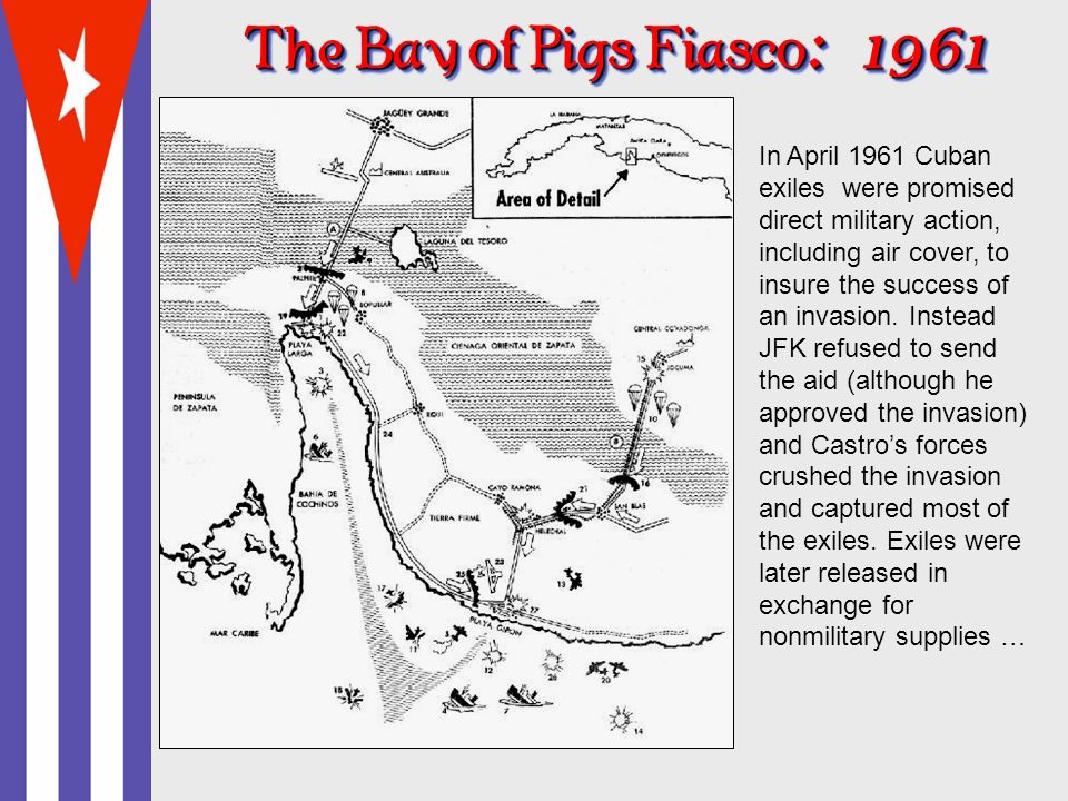 The Bay of Pigs Fiasco : 1961 In April 1961 Cuban exiles were promised direct military action, including air cover, to insure the success of an invasion.