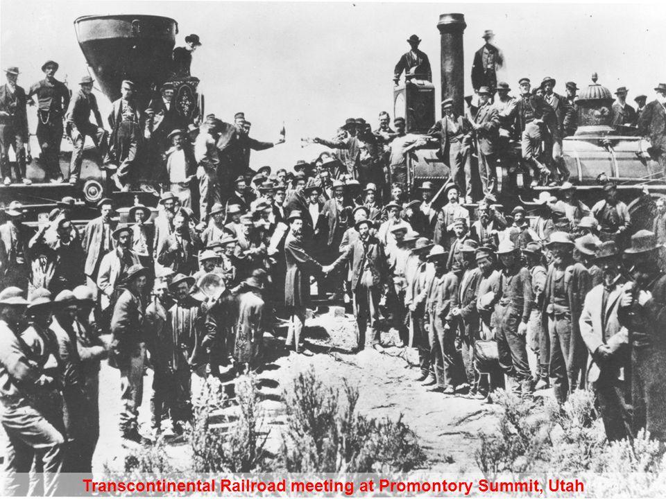 Transcontinental Railroad meeting at Promontory Summit, Utah