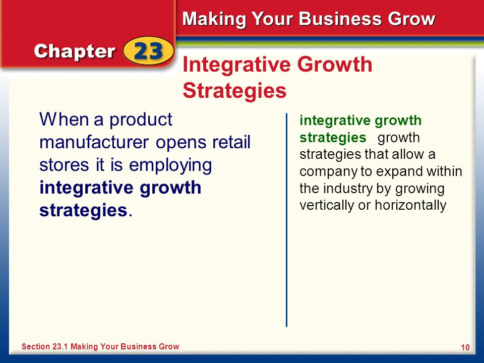 Making Your Business Grow 10 Integrative Growth Strategies When a product manufacturer opens retail stores it is employing integrative growth strategi