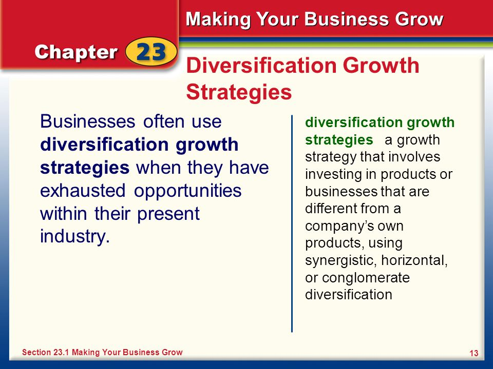 Making Your Business Grow 13 Diversification Growth Strategies Businesses often use diversification growth strategies when they have exhausted opportu