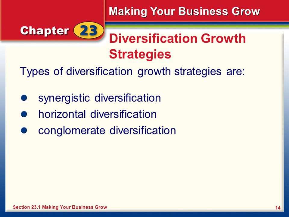 Making Your Business Grow 14 Diversification Growth Strategies Types of diversification growth strategies are: Section 23.1 Making Your Business Grow