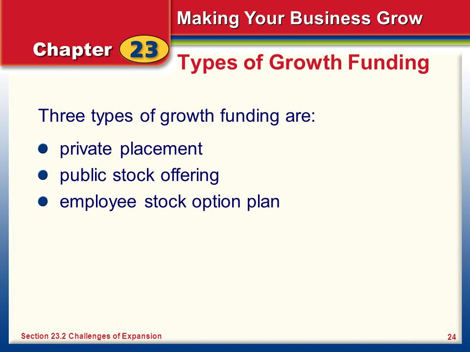 Making Your Business Grow 24 Types of Growth Funding Three types of growth funding are: Section 23.2 Challenges of Expansion private placement public