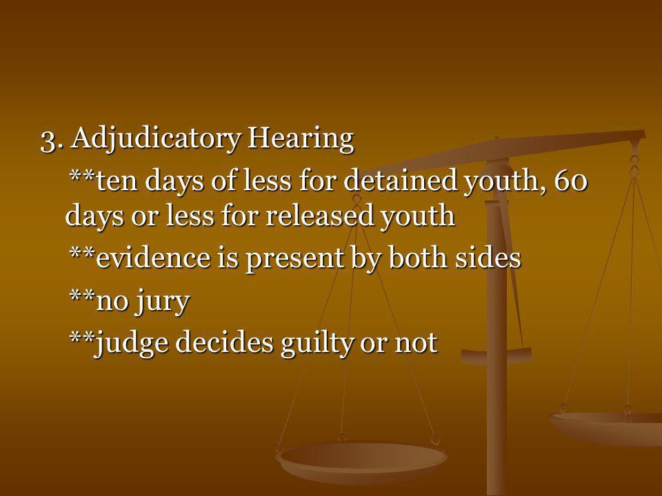 3. Adjudicatory Hearing **ten days of less for detained youth, 60 days or less for released youth **ten days of less for detained youth, 60 days or le