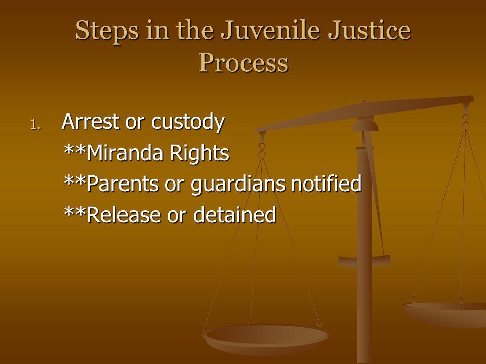 Steps in the Juvenile Justice Process 1. Arrest or custody **Miranda Rights **Miranda Rights **Parents or guardians notified **Parents or guardians no