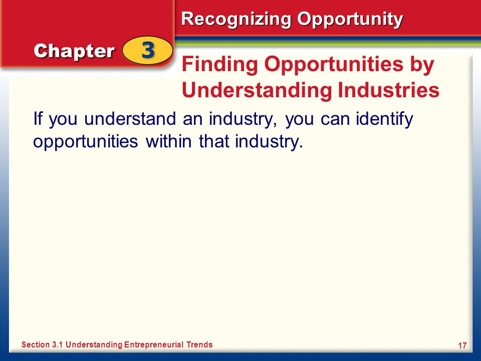 Recognizing Opportunity 17 Finding Opportunities by Understanding Industries If you understand an industry, you can identify opportunities within that