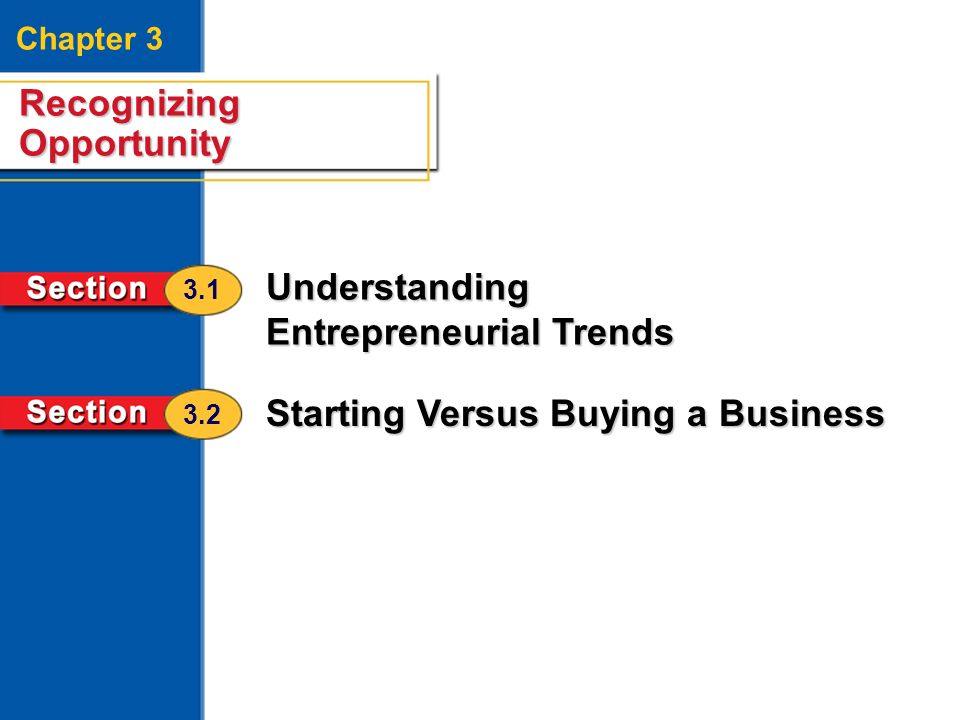 Recognizing Opportunity 2 Chapter 3 Recognizing Opportunity Understanding Entrepreneurial Trends Starting Versus Buying a Business 3.1 3.2