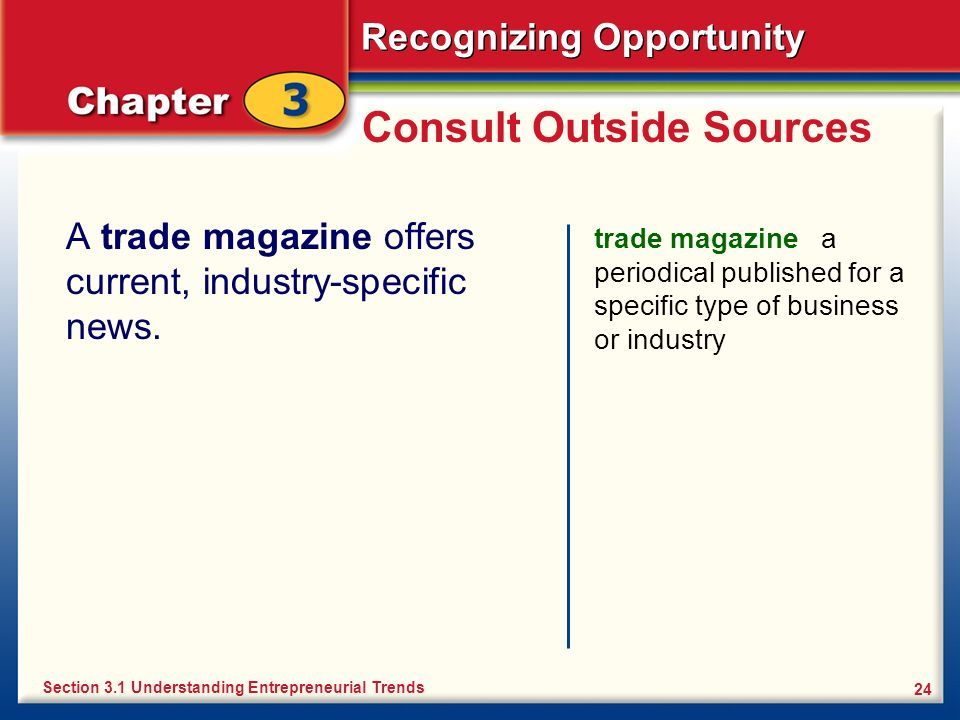 Recognizing Opportunity 24 Consult Outside Sources A trade magazine offers current, industry-specific news. trade magazine a periodical published for
