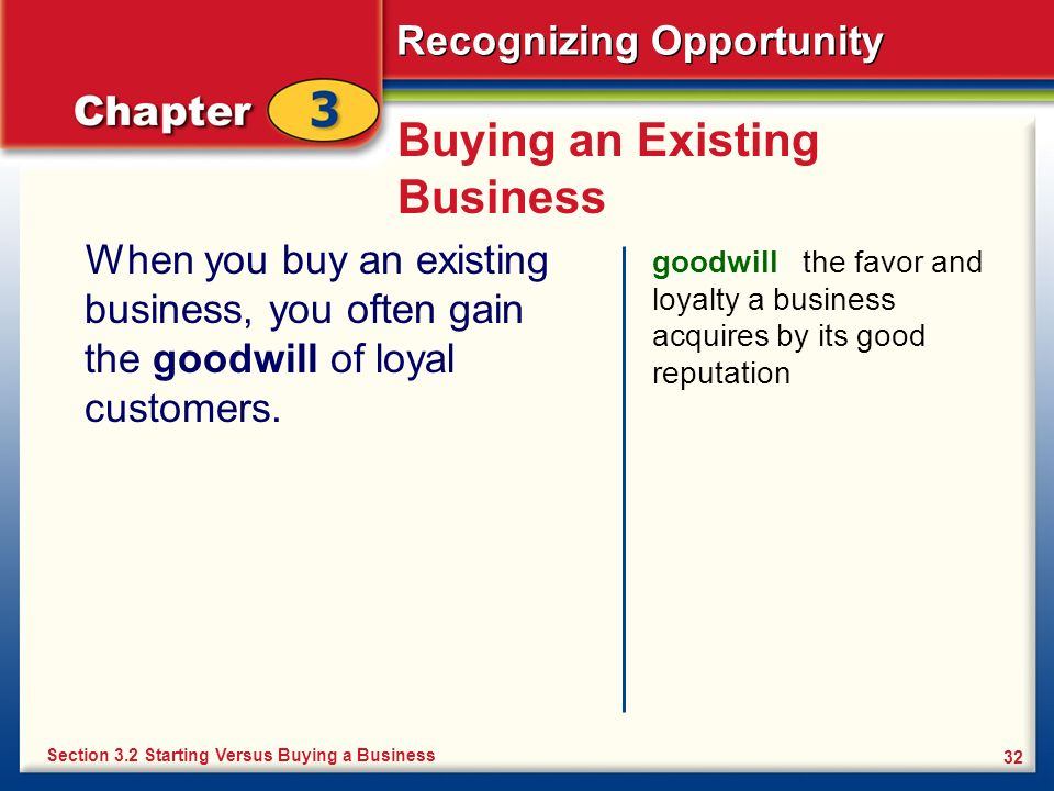 Recognizing Opportunity 32 Buying an Existing Business When you buy an existing business, you often gain the goodwill of loyal customers. goodwill the