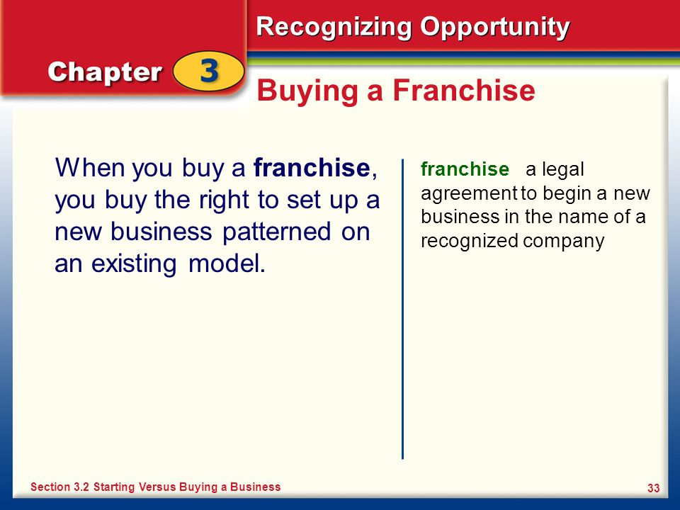 Recognizing Opportunity 33 Buying a Franchise When you buy a franchise, you buy the right to set up a new business patterned on an existing model. fra