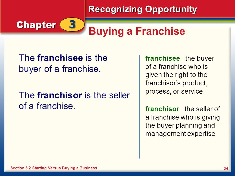 Recognizing Opportunity 34 Buying a Franchise The franchisee is the buyer of a franchise. The franchisor is the seller of a franchise. franchisee the