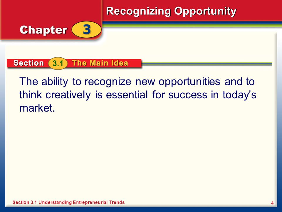 Recognizing Opportunity 15 Idea Versus Opportunity You generate ideas by thinking creatively.