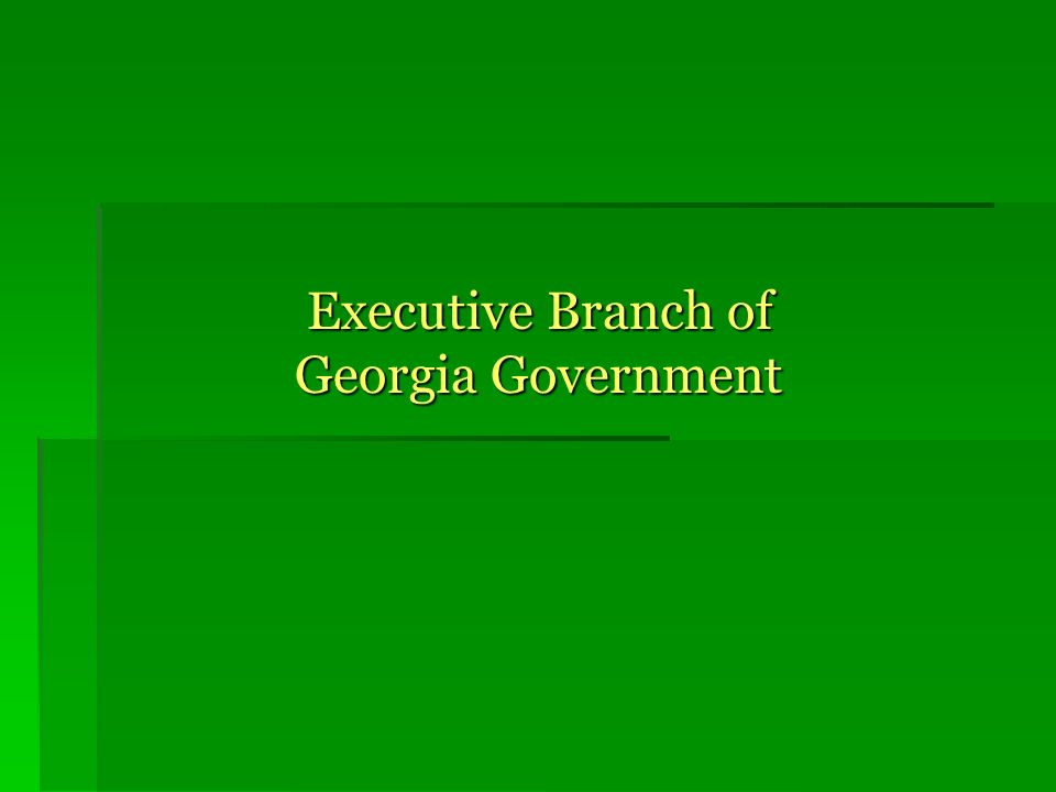 Executive Branch of Georgia Government Executive Branch of Georgia Government