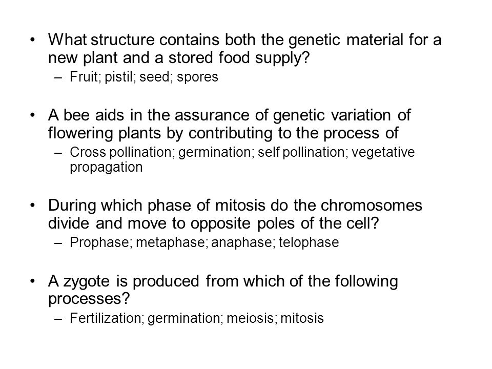 What structure contains both the genetic material for a new plant and a stored food supply? –Fruit; pistil; seed; spores A bee aids in the assurance o
