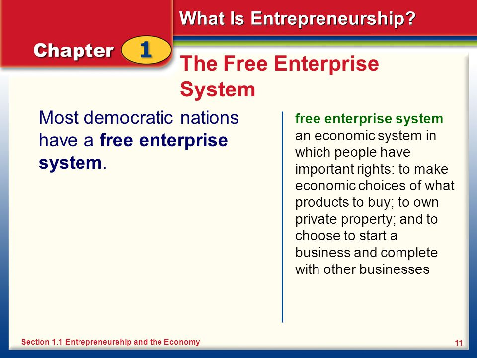 What Is Entrepreneurship? 11 The Free Enterprise System Most democratic nations have a free enterprise system. free enterprise system an economic syst