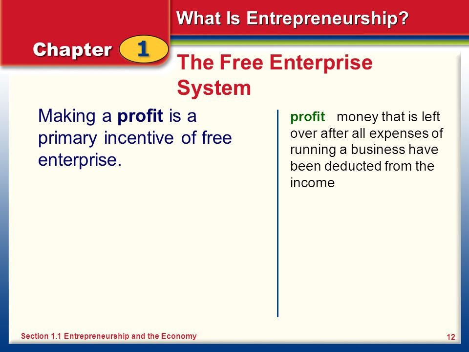 What Is Entrepreneurship? 12 The Free Enterprise System Making a profit is a primary incentive of free enterprise. profit money that is left over afte