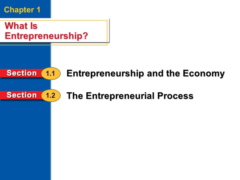 What Is Entrepreneurship? 2 Chapter 1 What Is Entrepreneurship? Entrepreneurship and the Economy The Entrepreneurial Process 1.1 1.2