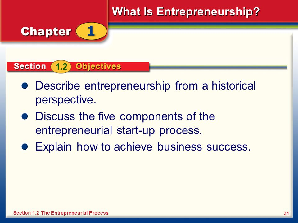 What Is Entrepreneurship? 31 Describe entrepreneurship from a historical perspective. Discuss the five components of the entrepreneurial start-up proc