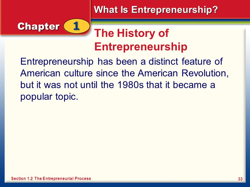 What Is Entrepreneurship? 33 The History of Entrepreneurship Entrepreneurship has been a distinct feature of American culture since the American Revol