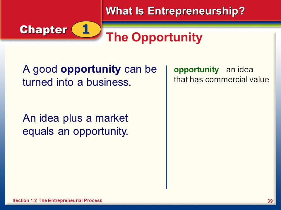 What Is Entrepreneurship? 39 The Opportunity A good opportunity can be turned into a business. opportunity an idea that has commercial value Section 1