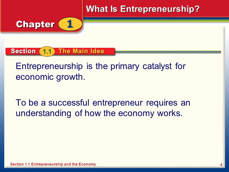 What Is Entrepreneurship? 4 Entrepreneurship is the primary catalyst for economic growth. To be a successful entrepreneur requires an understanding of
