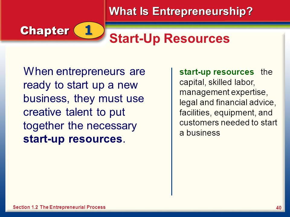 What Is Entrepreneurship? 40 Start-Up Resources When entrepreneurs are ready to start up a new business, they must use creative talent to put together