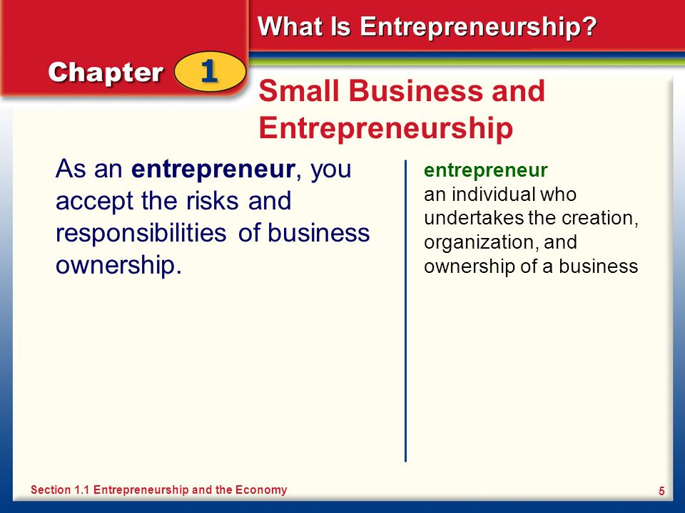 What Is Entrepreneurship? 5 Small Business and Entrepreneurship As an entrepreneur, you accept the risks and responsibilities of business ownership. e