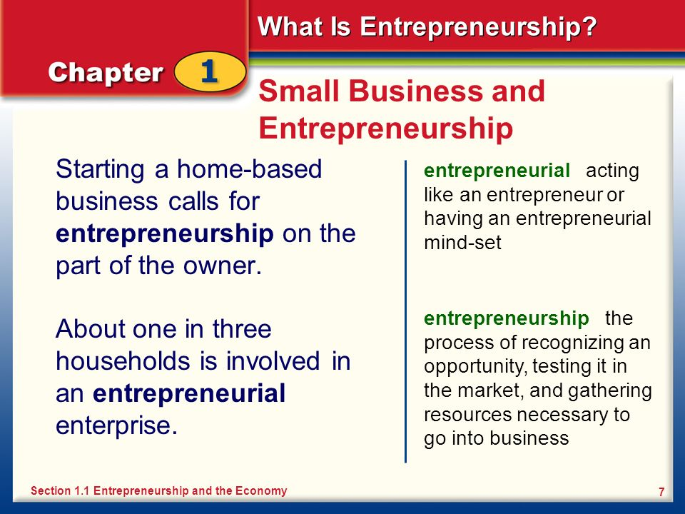What Is Entrepreneurship? 7 Small Business and Entrepreneurship Starting a home-based business calls for entrepreneurship on the part of the owner. en