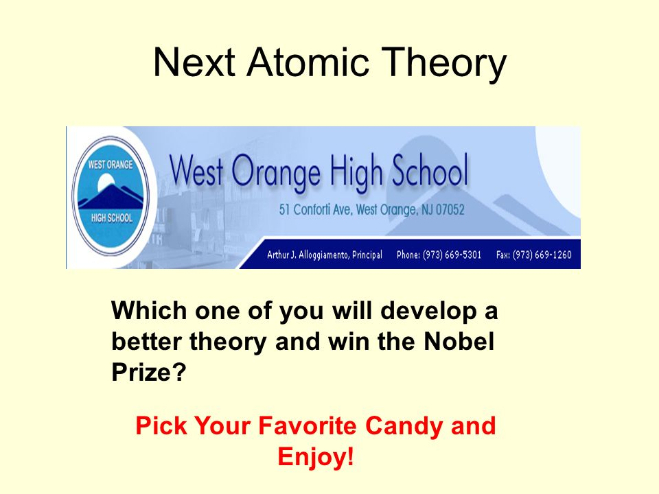 Next Atomic Theory Which one of you will develop a better theory and win the Nobel Prize? Pick Your Favorite Candy and Enjoy!