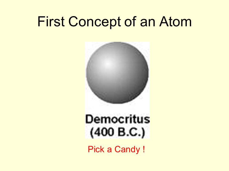 First Concept of an Atom Pick a Candy !