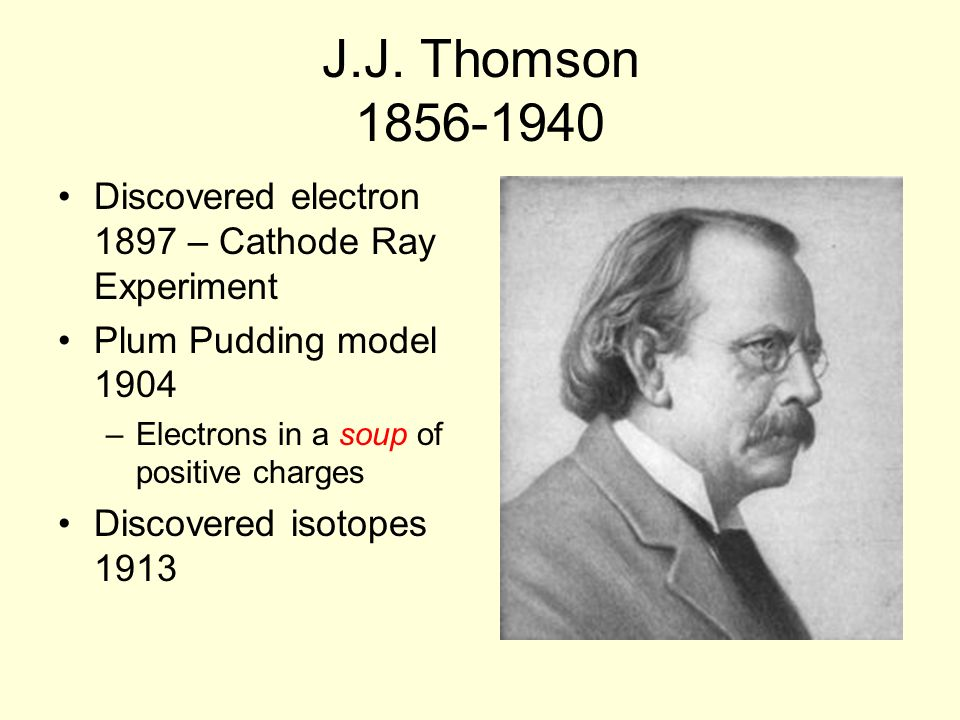J.J. Thomson 1856-1940 Discovered electron 1897 – Cathode Ray Experiment Plum Pudding model 1904 –Electrons in a soup of positive charges Discovered i
