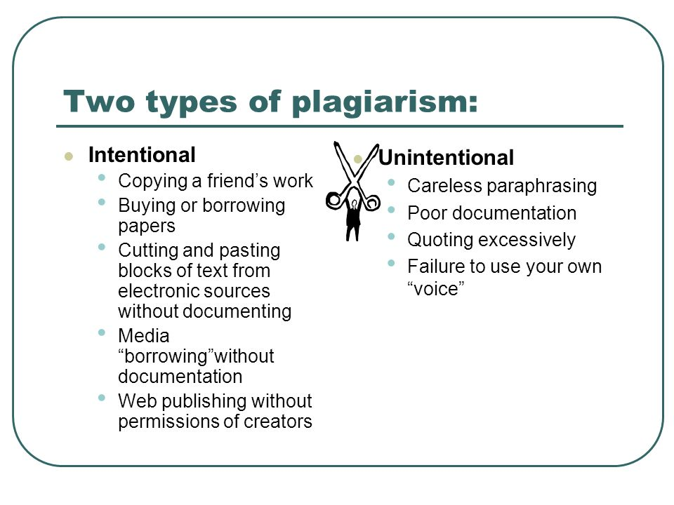 Two types of plagiarism: Intentional Copying a friends work Buying or borrowing papers Cutting and pasting blocks of text from electronic sources with