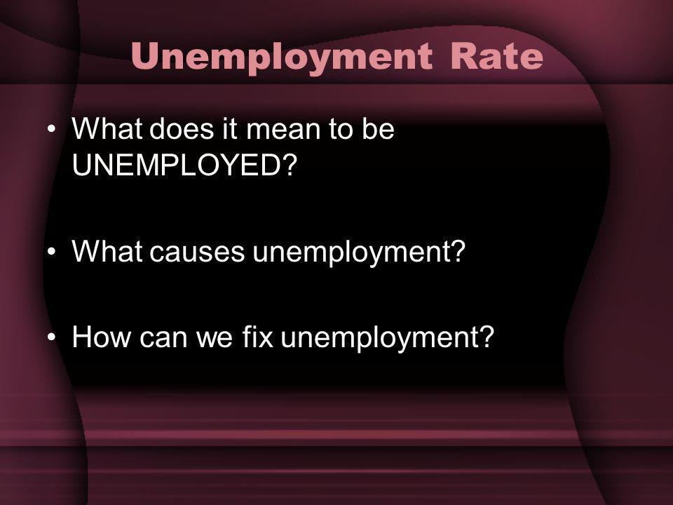 Unemployment Rate What does it mean to be UNEMPLOYED.