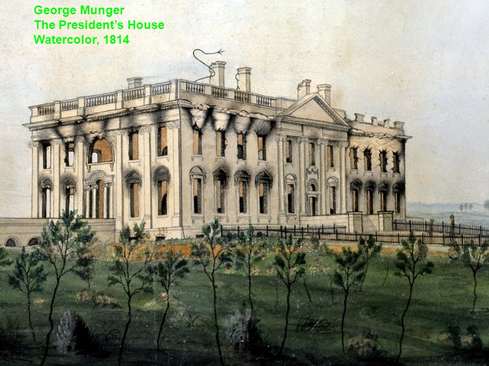 George Munger The Presidents House Watercolor, 1814