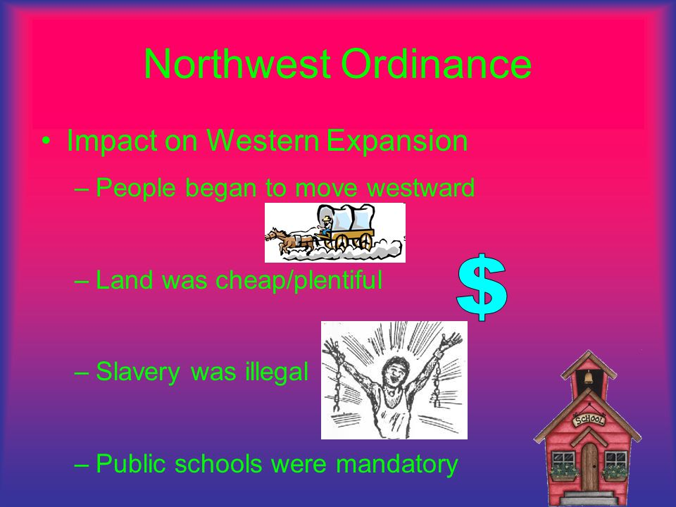 Northwest Ordinance Impact on Western Expansion –P–People began to move westward –L–Land was cheap/plentiful –S–Slavery was illegal –P–Public schools