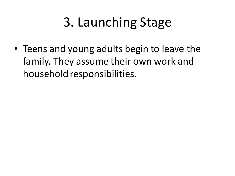 3. Launching Stage Teens and young adults begin to leave the family. They assume their own work and household responsibilities.