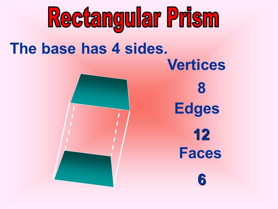 Vertices Edges Faces 6 9 5 3 The base has 3 sides.