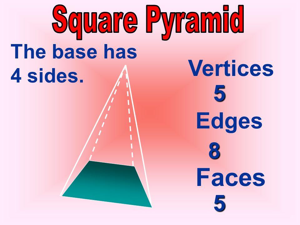 Vertices Edges Faces 4 6 4 3 The base has 3 sides.