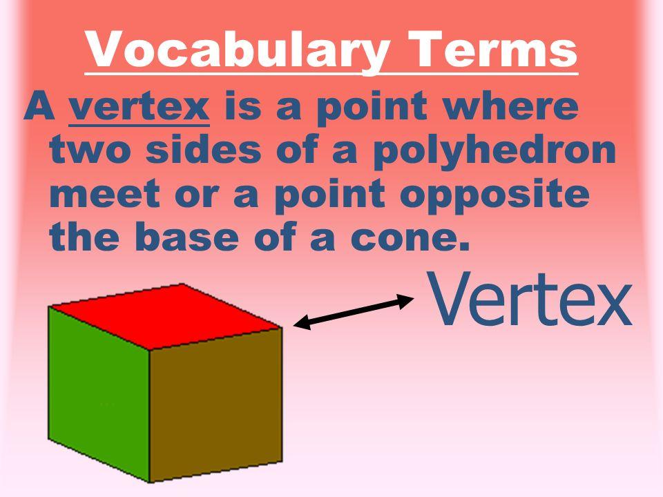 Vocabulary Terms An edge is a segment where two faces meet. Edge