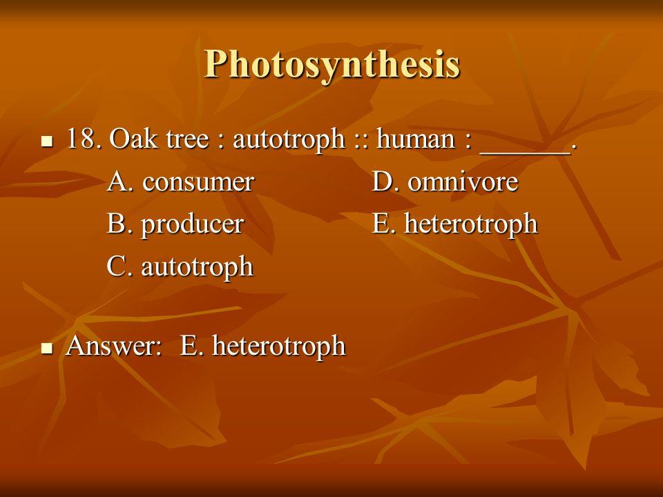 Photosynthesis 18. Oak tree : autotroph :: human : ______. 18. Oak tree : autotroph :: human : ______. A. consumerD. omnivore B. producerE. heterotrop