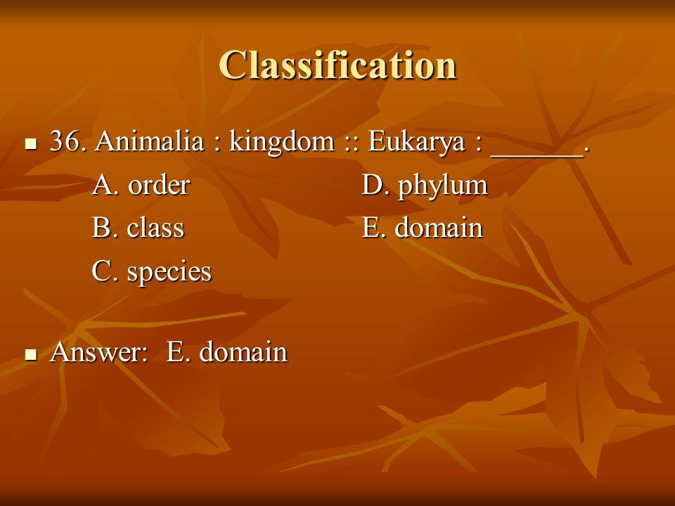 Classification 36. Animalia : kingdom :: Eukarya : ______. 36. Animalia : kingdom :: Eukarya : ______. A. orderD. phylum B. classE. domain C. species