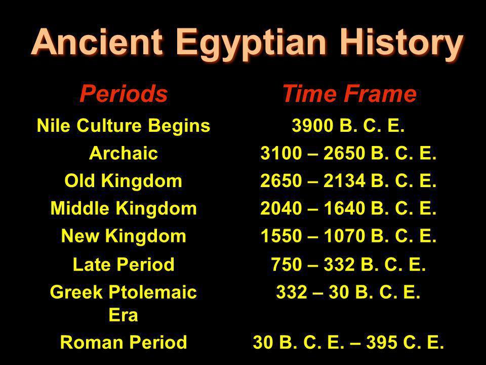 Ancient Egyptian History PeriodsTime Frame Nile Culture Begins3900 B. C. E. Archaic3100 – 2650 B. C. E. Old Kingdom2650 – 2134 B. C. E. Middle Kingdom